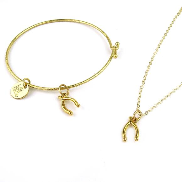 Moon and Lola - Wishbone Necklace and Wishbone Charm Bangle Bracelet