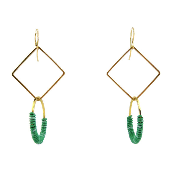 Moon and Lola - Zafi Earrings in Green / White