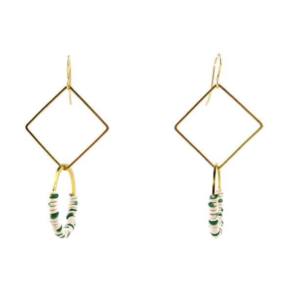 Moon and Lola - Zafi Earrings in White / Green