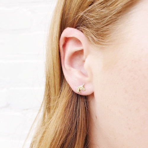Moon and Lola - Fina 14K Gold Unicorn Studs