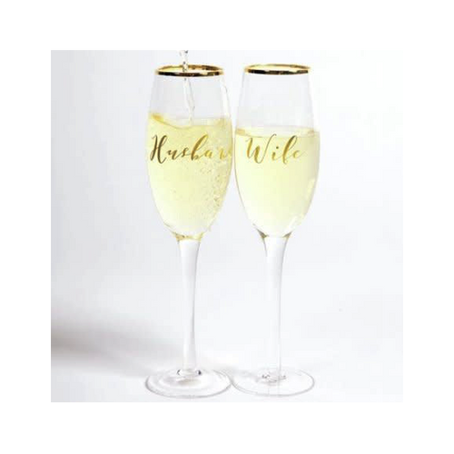 Moon and Lola - 8 Oak Lane Husband & Wife Champagne Glasses