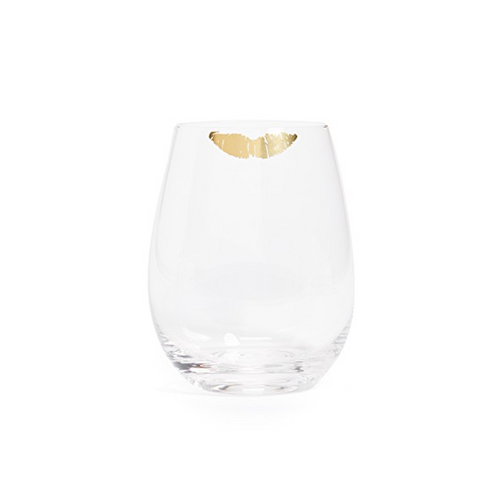 Moon and Lola - 8 Oak Lane Stemless Wine Glasses with Gold Kiss