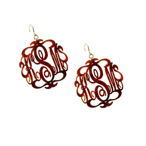 "Sample ""KMB"" Vineyard Round Dangle Earring, Block"