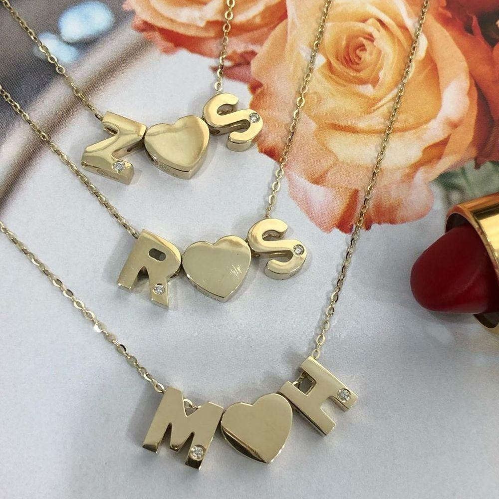Moon and Lola Amador Double Letter Diamond Necklace with heart