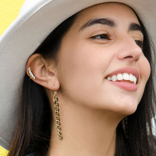 Moon and Lola - Avesta Chain Drop Earrings oxidized gold color