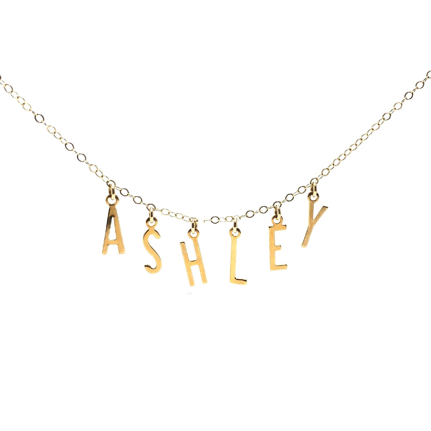 Moon and Lola - Belize Necklace on apex link chain with the name ASHLEY spelled out