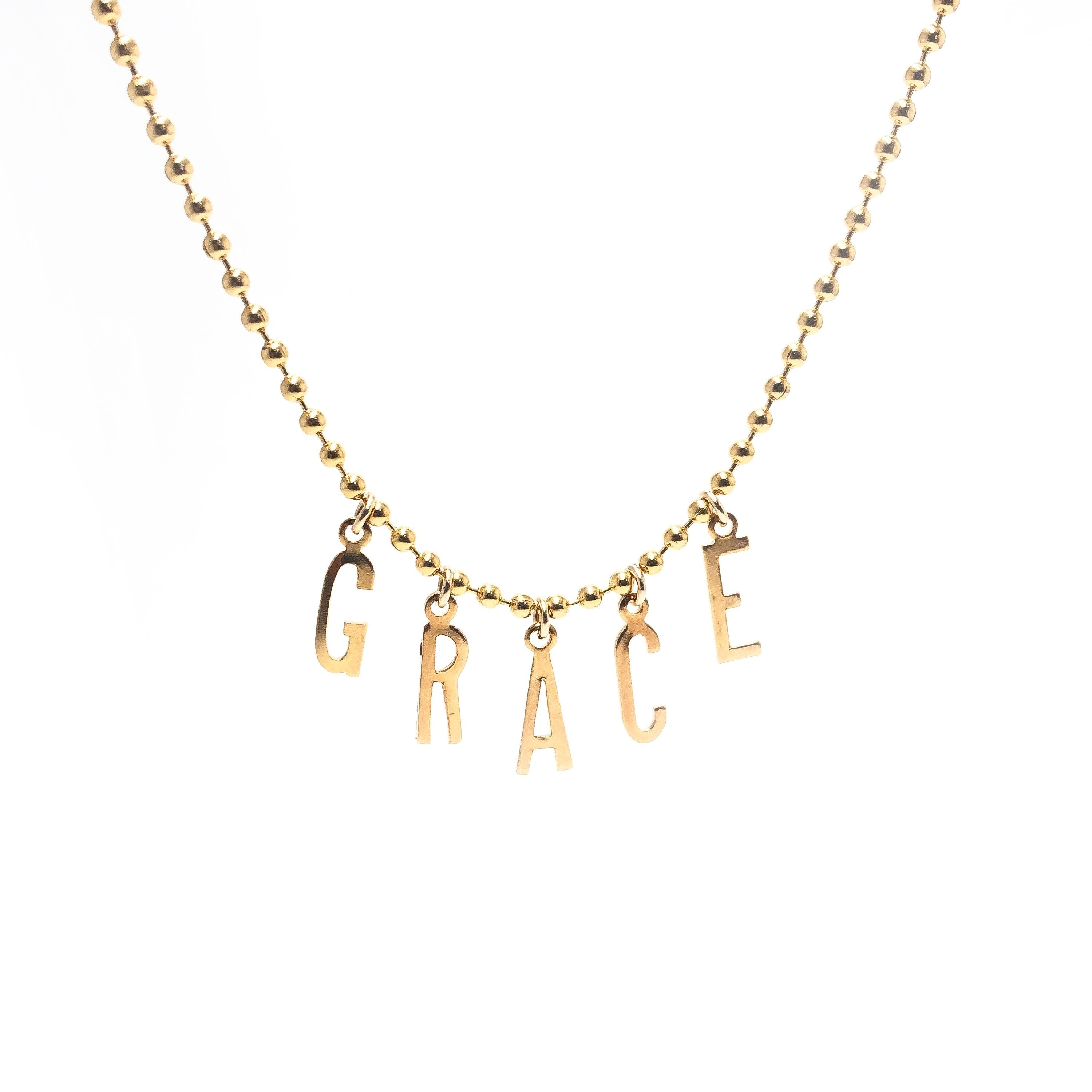 Moon and Lola - Belize Necklace with letters spelling GRACE