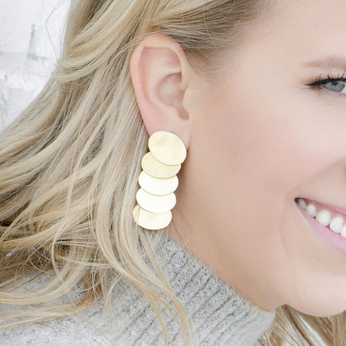 Moon and Lola Bimini Earrings brushed gold cascade of 5 ovals on a post earring