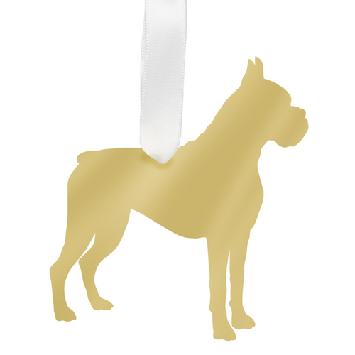 Moon and Lola - Boxer Ornament Mirrored Gold
