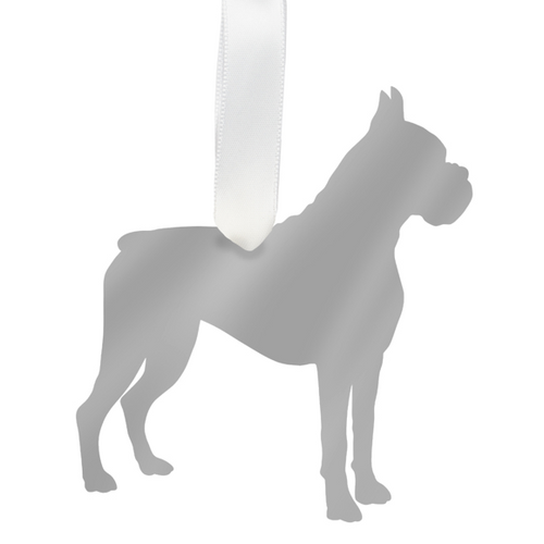 Moon and Lola - Boxer Ornament Mirrored Silver