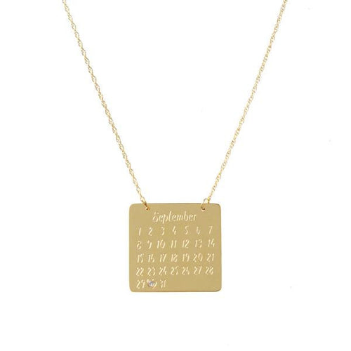 Moon and Lola Calendar Necklace with heart cutout or diamond inlay