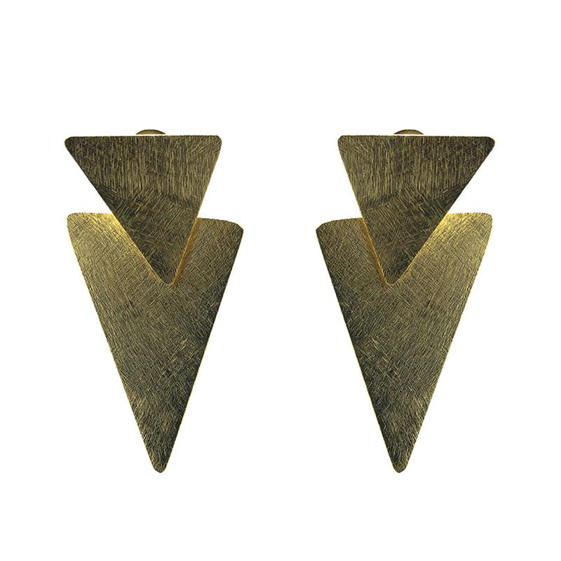 Moon and Lola - Ceylon Earrings brushed gold double triangle post dangles