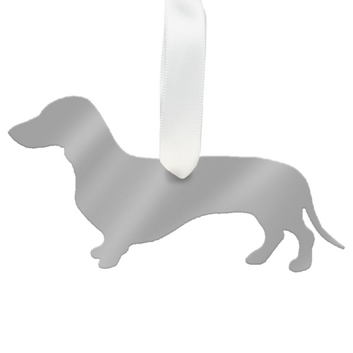 Moon and Lola - Dachshund Ornament mirrored silver