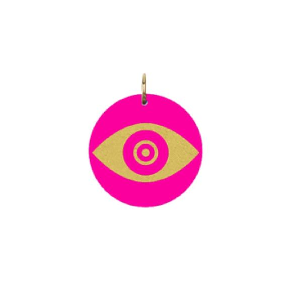 Moon and Lola - Acrylic Eden Charm evil eye charm on hot pink acrylic