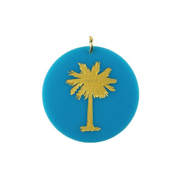 Moon and Lola - Acrylic Eden Charm palm tree charm on turquoise acrylic