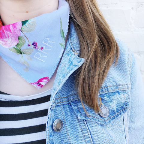 Moon and Lola - Floral Print Embroidered Bandana