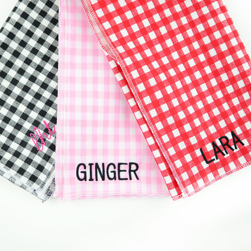 Moon and Lola - Custom Embroidered Gingham Bandana