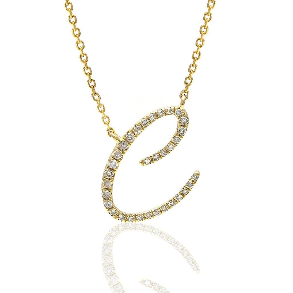 Moon and Lola - Essex Pave Diamonds Initial Necklace C
