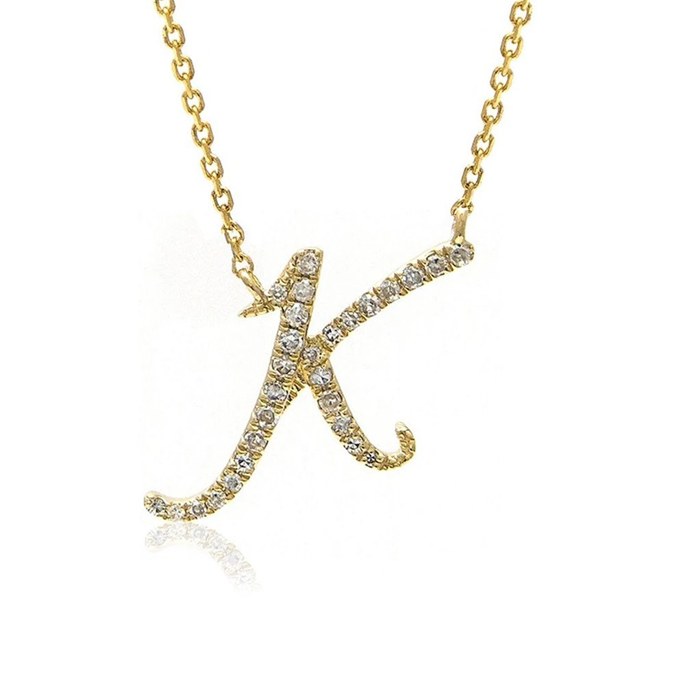 Moon and Lola - Essex Pave Diamonds Initial Necklace K