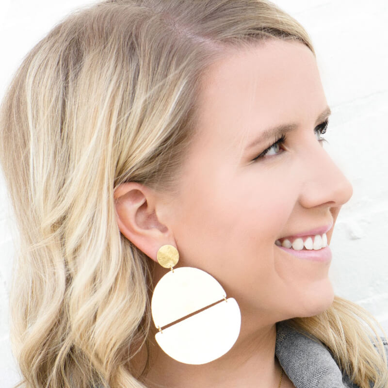 Moon and Lola - Ferrada Earrings brushed gold bold geometrics