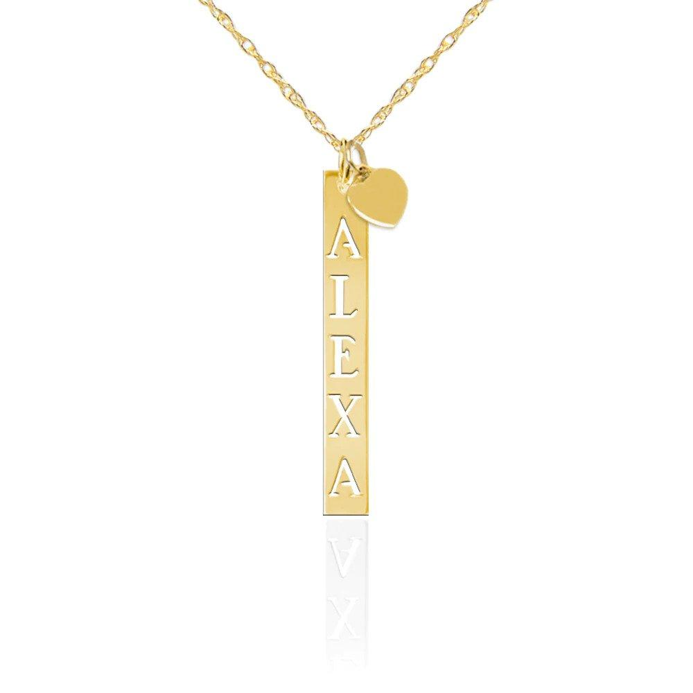 Moon and Lola - Gold Vendome Vertical Pierced Bar Necklace