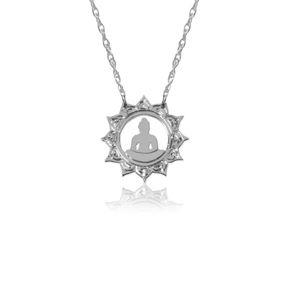 Moon and Lola - Halo Buddha Necklace in Silver or White Gold