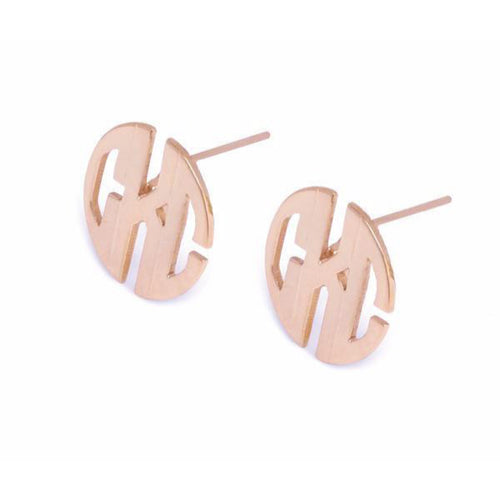 Moon and Lola - Hampton Metal Block Font Post Earrings