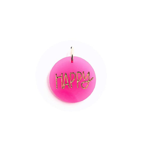 Moon and Lola xx All She Wrote Notes - Colorful Acrylic Charm with the word Happy engraved in a fun font