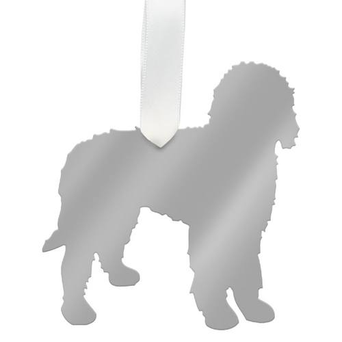Moon and Lola - Labradoodle Ornament Mirrored Silver