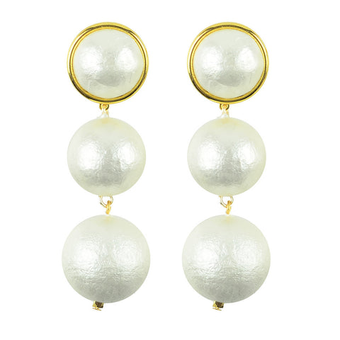 Moon and Lola - Luna Double Drop Cotton Pearl Post Earrings
