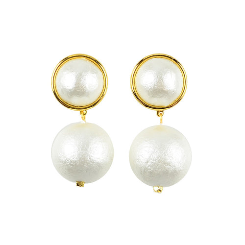 Moon and Lola - Luna Single Drop Cotton Pearl Post Earrings