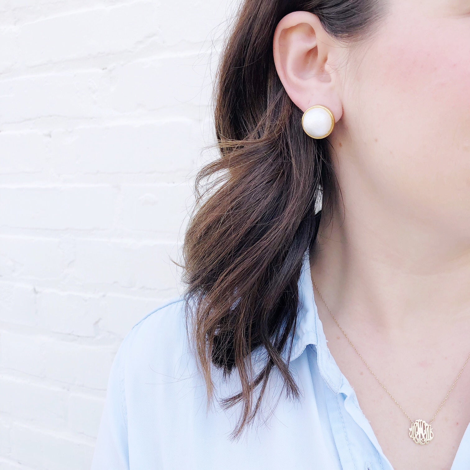 Moon and Lola - Luna Stud Earrings with Cheshire Monogram Necklace