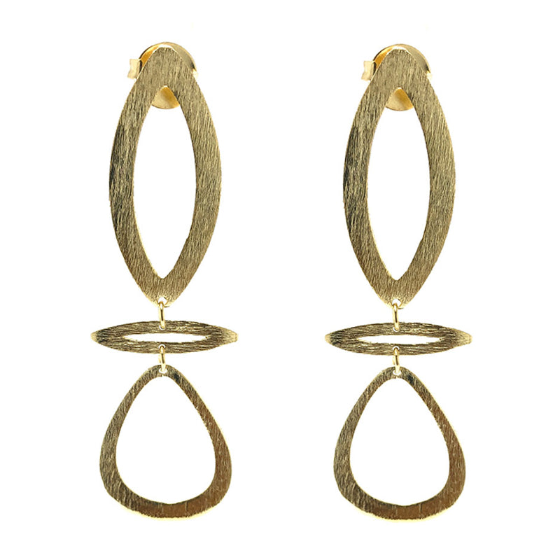 Moon and Lola Mahee Earrings brushed gold geometric dangles