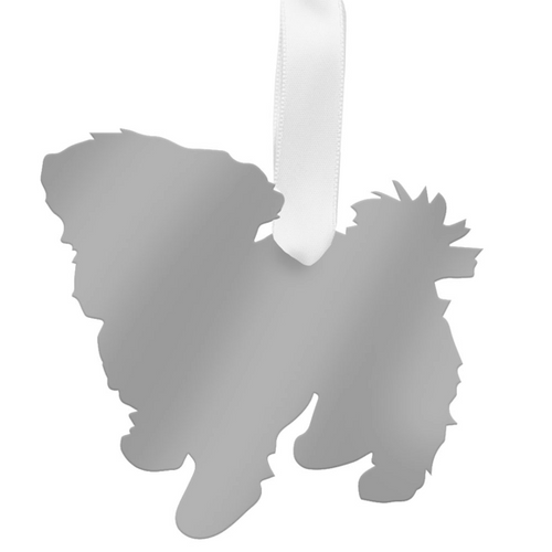 Moon and Lola - Maltese Ornament mirrored silver
