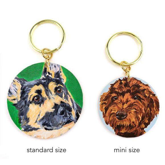 Moon and Lola - Megan Carn keychain sizes