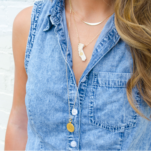 Moon and Lola Monogrammed State Necklace layered with a Long Metal Dalton Necklace