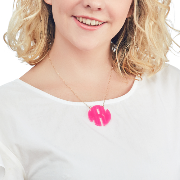Moon and Lola - Nice Monogram Necklace in hot pink
