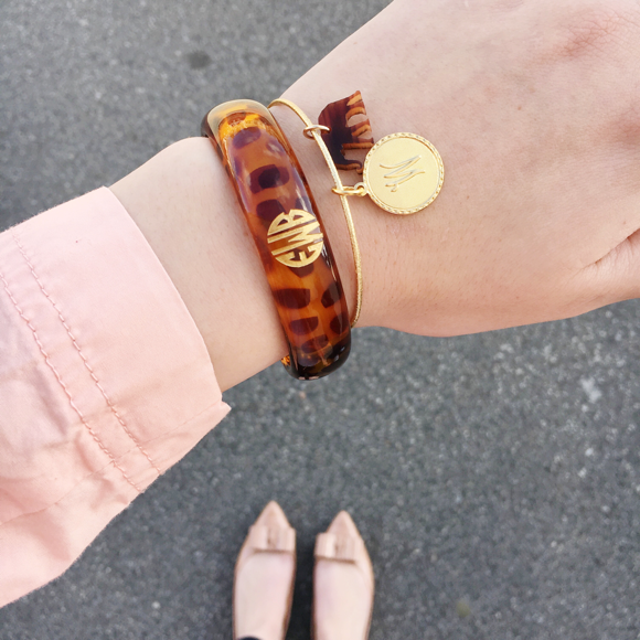 Moon and Lola - Nora Bangle with Monogrammed Tortoise Everly Bangle