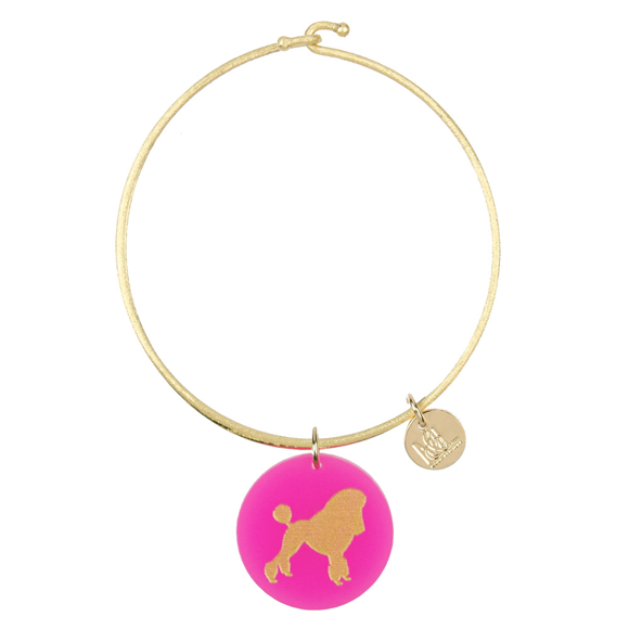 Moon and Lola - Nora Bangle with Hot Pink Poodle Pet Charm