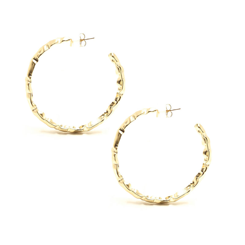 Moon and Lola - Gold Odessa Hoops textured to look like gold nuggets