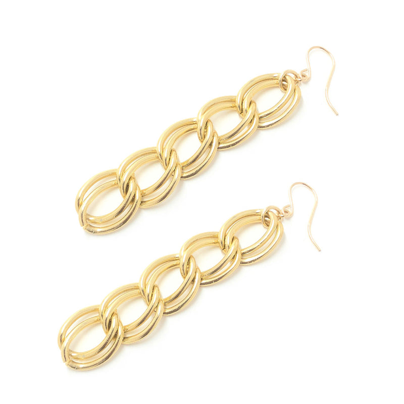 Moon and Lola - Ossett Gold Double Chain Drop Earrings