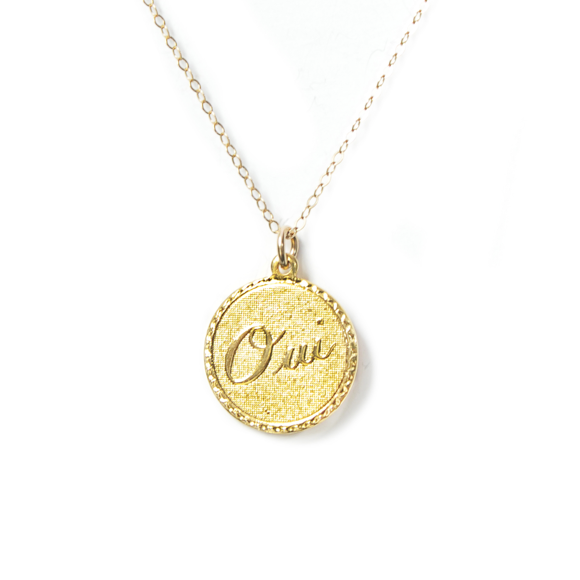Moon and Lola - Metal Oui Charm Necklace On Apex Chain