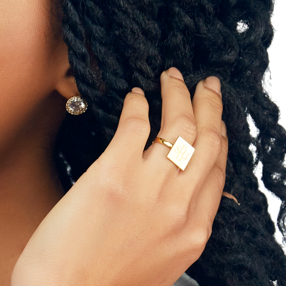Moon and Lola - Square Oxford Monogram Ring