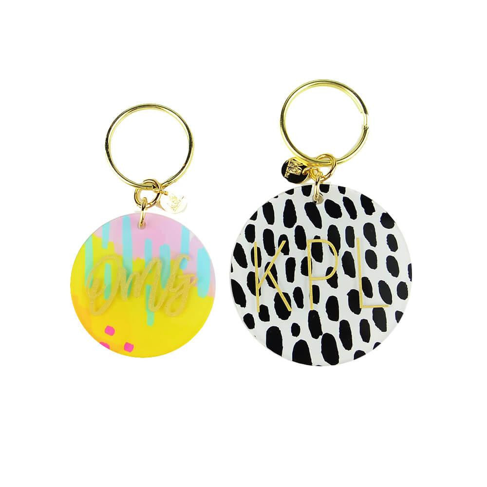 Moon and Lola - Patterned Monogram Keychain