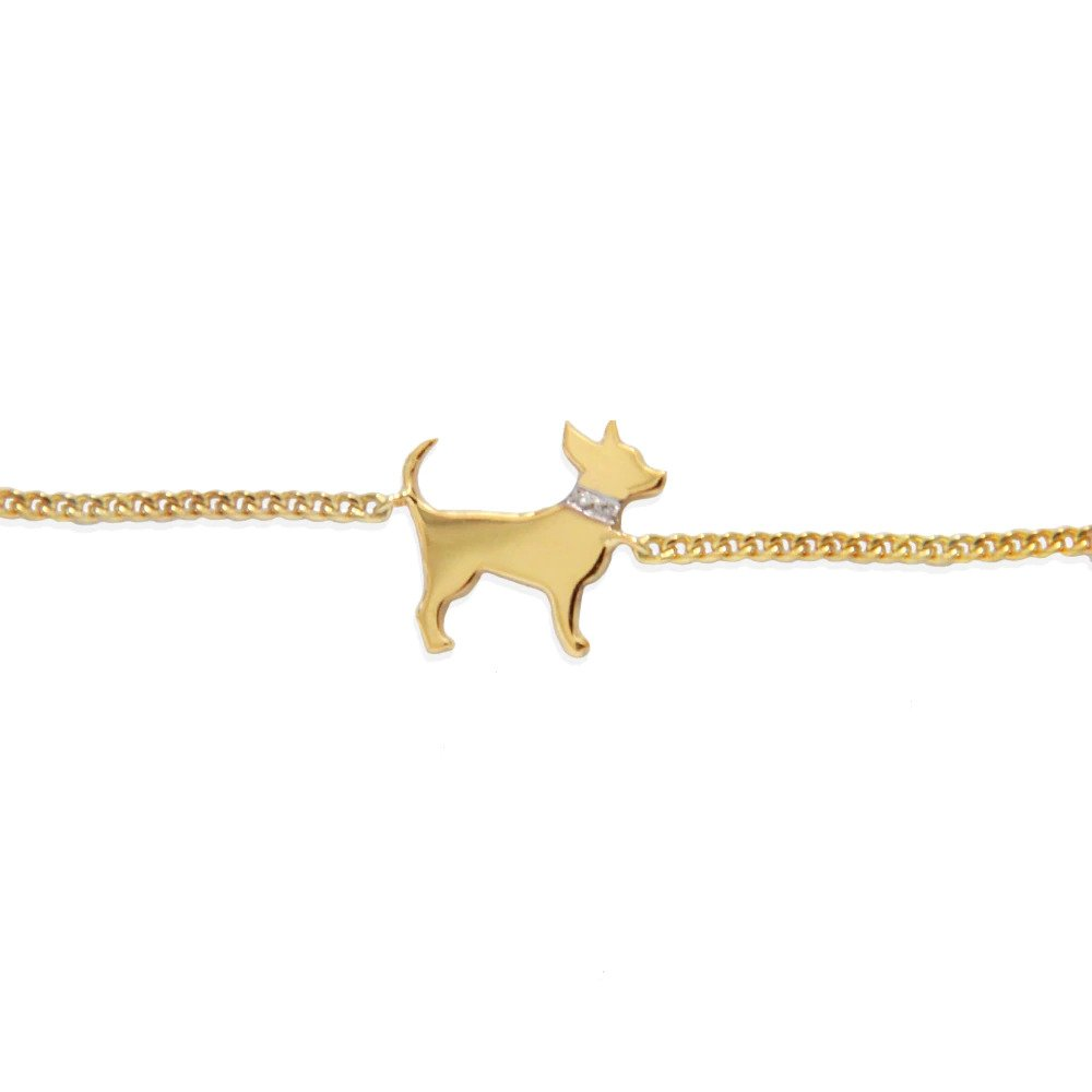 Moon and Lola - Petit Bijou Bracelet gold chihuahua with diamond collar