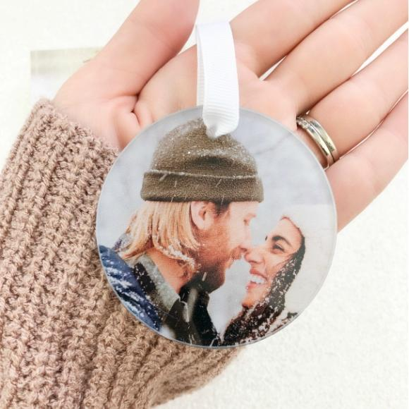Moon and Lola - Clear acrylic photo ornament with your photo printed on the back