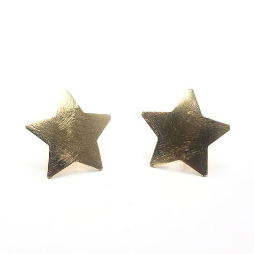 Moon and Lola Polaris Stud Earrings with brushed gold five pointed stars