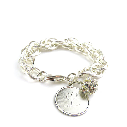 Moon and Lola Preston Rhinestone Charm Bracelet Silver
