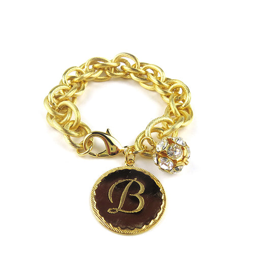 Moon and Lola Preston Rhinestone Charm Bracelet GOLD