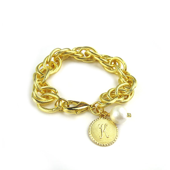 Moon and Lola - Preston Charm Bracelet Gold Dalton Cotton Pearl